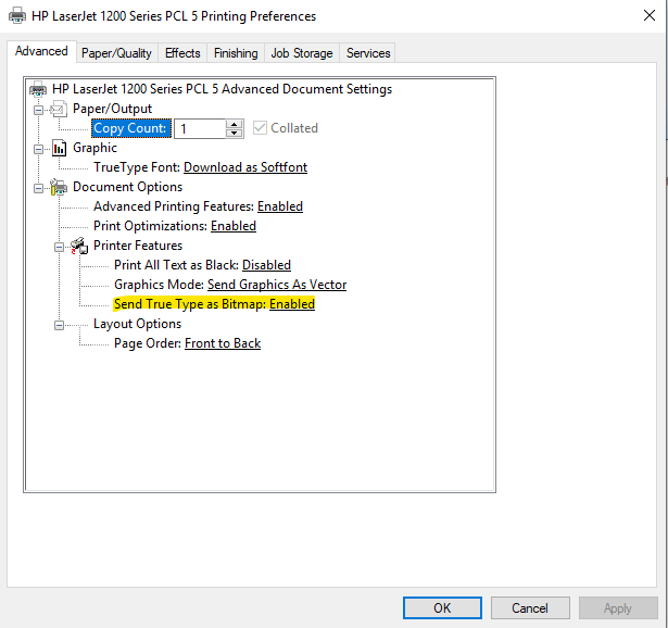 How to get an HP 1200 to print quickly in Windows 10 | Jayden's Blog